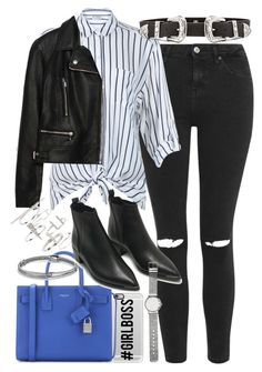 """""""Outfit with a striped blouse and blue handbag"""" by ferned on Polyvore featuring Casetify, Topshop, Miss Selfridge, Yves Saint Laurent, David Yurman, Zara, B-Low the Belt, Acne Studios, Witchery and women's clothing"""