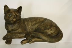 """A Poole Pottery Stoneware Large Cat Laying  Approx 11"""" long x 6"""" high.  Made in 1996 only, modelled adapted by Alan White"""