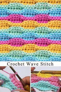 How to Crochet the Wave Stitch - Naztazia ® # half double crochet tutorial stitches How to Crochet the Wave Stitch Crochet Stitches Free, Crochet Shell Stitch, Easy Crochet, Crochet Shell Blanket, Dishcloth Crochet, Crochet Lace, Crochet Wave Pattern, Afghan Crochet Patterns, Stitch Patterns