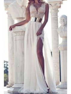 white lace long dress to wear to a wedding as guest
