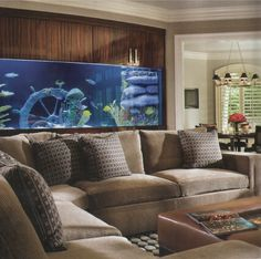 Brilliant Under Brown Wall Aquarium With Cabinet Combine Grey Fabric Sofa And Brown Leather Ottoman. Extraordinary Home Aquarium Ideas For Your Home Decorations Aquarium Design, Aquarium Ideas, Fish Tank Wall, Fish Tanks, Living Room Designs, Living Room Decor, Living Rooms, Living Area, Aquarium Maintenance