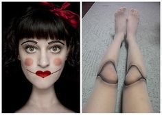 Doll costume - halloween costume  Dont like the face but love the idea for the legs