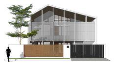 Ideas design presentation architecture house for 2019 Modern Tropical House, Tropical House Design, Tropical Houses, Roof Architecture, Modern Architecture House, Concept Architecture, Tropical Architecture, D House, Facade House