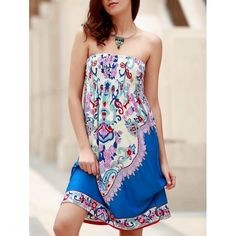 Bohemian Strapless Sleeveless Floral Print Women's Dress $12.47
