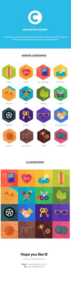 Cronnection badges by Leonardo Zem, via Behance