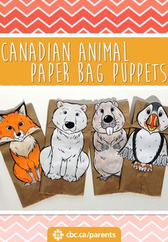 bags are the perfect base for puppets! Use the beaver, make it say the memory verse, or retell the bible story.Paper bags are the perfect base for puppets! Use the beaver, make it say the memory verse, or retell the bible story. Diy Paper Bag, Paper Bag Crafts, Paper Bags, Canadian Animals, Canadian Wildlife, Fox Crafts, Animal Crafts, Polar Animals, Polar Bear