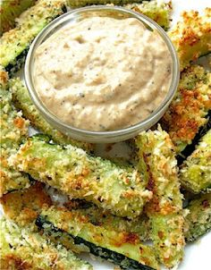 The Food Bowl: Baked Zucchini Sticks with Sweet Onion Dip