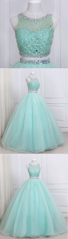 Stylish mint tulle two piece long homecoming dress, long beaded evening dresses #prom #dress #promdress