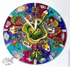 """Купить Часы """" Домики для гномиков"""" - часы настенные из стекла, часы настенные с росписью"""