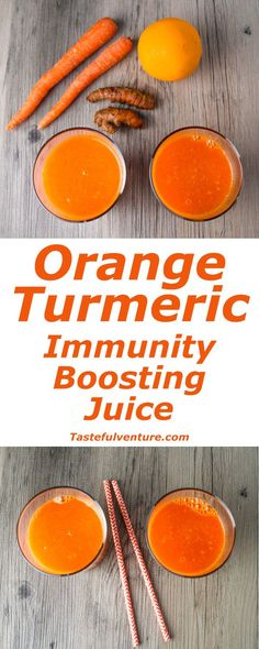 This Orange Turmeric Immunity Boosting Juice is full of Vitamin A and C, and so delicious! | Tastefulventure.com