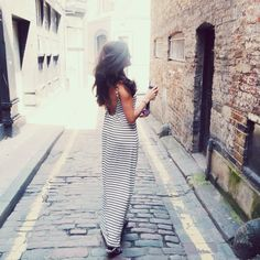 backless striped maxi