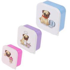Sada 3 #krabiček na jídlo - #Mopslík #pug #lunchbox #accessories #giftware