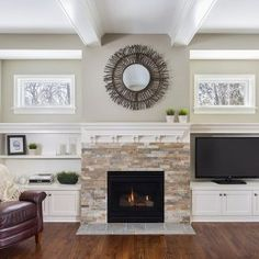 Traditional Family Room rock fireplace built in cabinets Design Ideas, Pictures, Remodel and Decor Fireplace Shelves, Fireplace Built Ins, Home Fireplace, Fireplace Remodel, Fireplace Surrounds, Fireplace Design, Fireplace Ideas, Fireplace Windows, Stone Veneer Fireplace