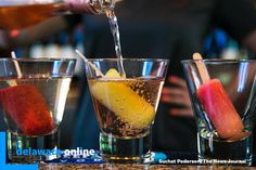 """""""Pop-tails"""" drinks consisting of wine with a house-made popsicle in it at Banks' Seafood Kitchen & Raw Bar on the Riverfront. Published on May 2018 Seafood Kitchen, Raw Bars, Ice Cream Treats, House Made, Popsicles, Banks, Sprouts, Foodies, Frozen"""