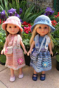 Tutos robes à bretelles, pull manches courtes, chapeau clôche et besace pour poupée Arias-Chérie-Paola-Reina