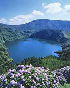 View of the lake in a volcano crater, Ilha dos Flores, Azores - hiked this 6 years ago!!!! Amazing!!  Travel to Azores Islands in Portugal to enjoy azores beautiful nature.  --  Have a look at http://www.travelerguides.net