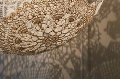 Pendant made from vintage doilies