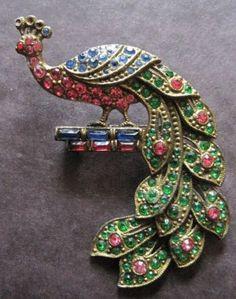 Vintage Art Deco 1930s Multi Colored Peacock Brooch