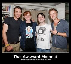 Neville Longbottom, Ron Weasley , Harry Potter and Draco Malfoy as they look today. Matthew Lewis, Rupert Grint, Daniel Radcliffe & Tom Felton all grown up! Note that Rupert is wearing a shirt from Dan's How to Succeed in Business performance. Matthew Lewis, Neville Longbottom, Tom Felton, Memes Do Harry Potter, Harry Potter Love, Harry Potter Gifts, Movies Quotes, Hp Quotes, Inspirational Quotes