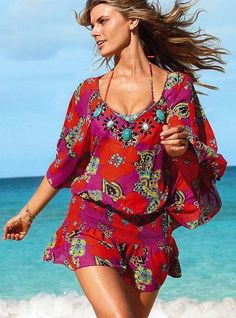 Colorful beach summer wear, simply gorgeous. #fashion