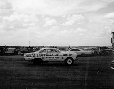 """Johnnie Eggleton's """"White Lightning Jr."""" 427 Falcon A/FX driven by W.L. """"Frog"""" Herring. Frog's axle broke on this pass and the car did a nice quick rollover. He wasn't hurt but the car was bent pretty bad. This was at Wichita Falls Dragway, Texas in 1967."""