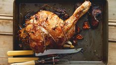 This recipe from Kevin Dundon is the ultimate way to roast lamb. Kevin Dundon Recipes, Roast Lamb, Kitchen Twine, Garlic Bulb, Lamb Recipes, Roasting Pan, Herbs, Stuffed Peppers, Cooking