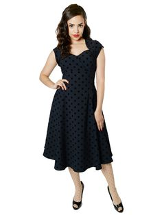 1165d51bb9e Collectif Regina Doll Polka Flock Print Dress Vintage Retro Classic 50 s  Pin-up