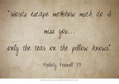Words escape me~how much do I miss you... only the tear on the pillow knows