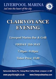 Clairvoyance Evening 25th May at Liverpool Marina Bar and Grill www.psychicnight.co.uk