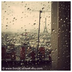 Morning rain... -  Eiffel tower, Paris Photography by Sonja Caldwell via Etsy #fpoe