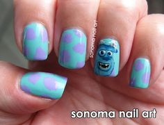 Sully from Monsters Inc.  I would NEVER be able to do nail art that detailed.  I can do detailed but not like that...  Cool though! (: