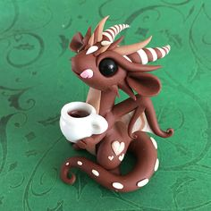 Mocha Dragon Sculpture by Dragons and Beasties Polymer Clay Dragon, Cute Polymer Clay, Polymer Clay Animals, Cute Clay, Fimo Clay, Polymer Clay Crafts, Polymer Clay Creations, Resin Crafts, Polymer Clay Sculptures