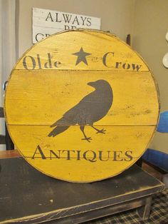 Olde Crow Antiques Primitive Painted by DaisyPatchPrimitives Primitive Country Signs, Primitive Crafts, Rustic Signs, Wood Signs, Primitive Painting, Tole Painting, Painted Boxes, Painted Signs, Crow Bird