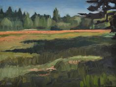 'Spring near campus', landscape painting painted near the University of Twente, Enschede, Netherlands. Oil paint on masonite. 2017. www.brimbrom.com