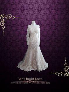 Vintage Style Robe en dentelle de mariage avec épaule Off Manches longues | Robe de mariée dentelle sexy | Robe de Mariée Ivoire | Meg