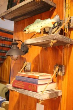 Rustic nautical shelves with rope and boat cleats Check out this awesome listing on Airbnb: Lake Arrowhead Bunkhouse - Cabins for Rent