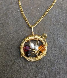 GOLD or SILVER Bird's Nest Birthstone Guitar String Necklace - Swarovski Crystals / Freshwater Rice Pearls / Bicone Beads - Unique Jewelry