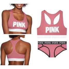 Vs Pink Logo Sports Bra & Panty Set Both are brand new panty with tags. Size Medium for both. ✨PRICE FIRM✨ ❗️Please respect my prices as I don't go off leaving negative comments on other peoples listings regarding their prices❗️ ⚠️Also I do not trade, at all⚠️ People who judge my prices or leave negative comments will be blocked, no exceptions PINK Victoria's Secret Intimates & Sleepwear Bras