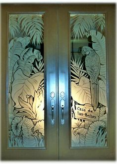 Etched Glass Windows, Etched Glass Door, Etched Mirror, Stained Glass Windows, Glass Doors, Window Glass Design, Feature Wall Design, Sandblasted Glass, Glass Engraving