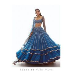 36) Blue shade bridal outfit with a contemporary touch! Orange Lehenga, Raw Silk Lehenga, Indian Fashion Dresses, Ethnic Fashion, Indian Outfits, Golden Lehenga, Designer Bridal Lehenga, Lehenga Collection, Designs For Dresses
