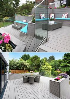 I love this, once i get my grey decking I will make turquoise cushions. VertiGrain Grey decking (with built-in planters and a frameless glass balustrade) in a garden in Kingston Backyard Fences, Backyard Landscaping, Garden Stairs, Fence Garden, Garden Railings, Porch Stairs, Garden Bed, Back Gardens, Outdoor Gardens