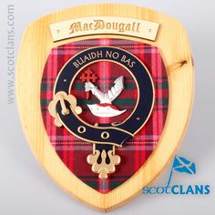 MacDougal Clan Crest Wall Plaque. Free worldwide shipping available