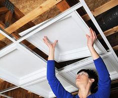 Conceal a Drop Ceiling..if you have one in the basement, a great way to dress it…