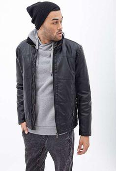 Forever 21   Paneled Faux Leather Jacket #forever21 #fauxleather #jacket
