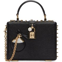 Dolce and Gabbana Black Pocket Watch Box Bag (12.560 RON) ❤ liked on Polyvore featuring bags, handbags, shoulder bags, bolsos, black, studded purse, flower handbags, flower purse, dolce gabbana purses and clasp purse