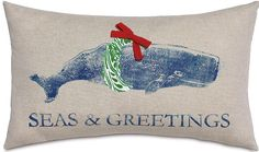 Merry Whale Pillow. Early Coastal Christmas Shopping at Outer Banks Trading Group.