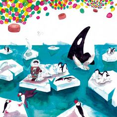 watercolor illustrations about the artic animals live.