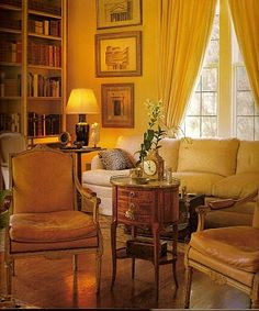 Living room in shades of gold -- designer Anthony Hail, photography Alan Weintraub