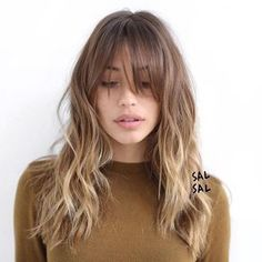 Fabulous Long Layered Haircuts With Bangs. Today, let's take a look at these fabulous long layered haircuts with bangs! Blonde Light Brown Hair, Sand Blonde Hair, Medium Hair Styles, Short Hair Styles, Long Hair Fringe Styles, Long Side Fringe, Updo Styles, Style Long Hair, Round Face Fringe