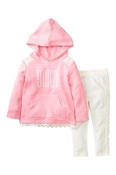 Juicy Couture Hooded Lace Trim Pullover & Pant Set (Toddler Girls)